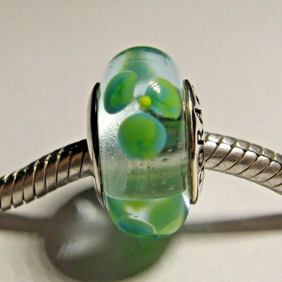 Fashion Jewelry Charms & Charm Bracelets Pandora Clear W/green Flowers Murano Glass Charm